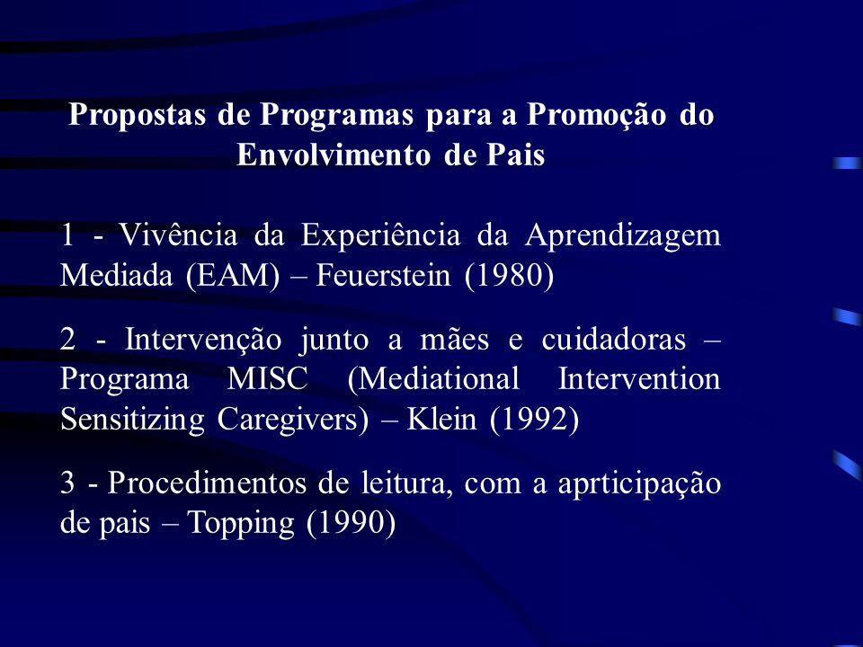 Propostas de Programas para a Promoção do Envolvimento de Pais