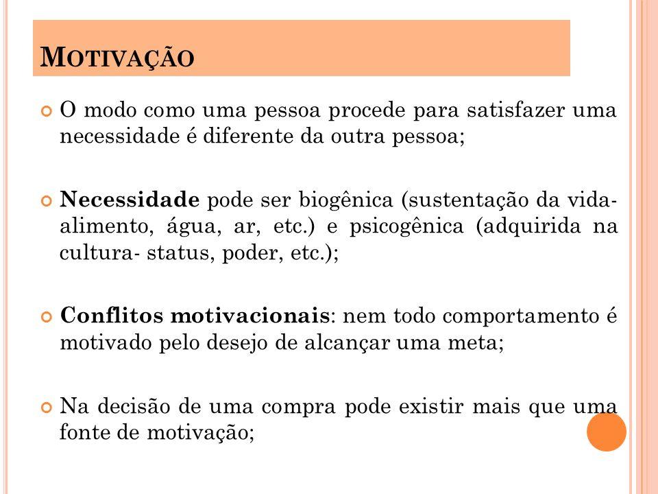 Motivação O modo como uma pessoa procede para satisfazer uma necessidade é diferente da outra pessoa;