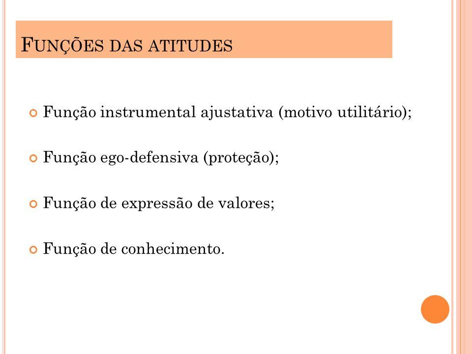 Funções das atitudes Função instrumental ajustativa (motivo utilitário); Função ego-defensiva (proteção);