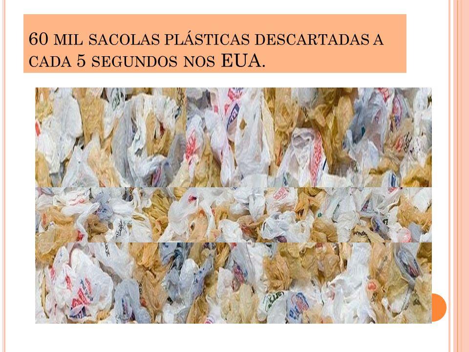 60 mil sacolas plásticas descartadas a cada 5 segundos nos EUA.