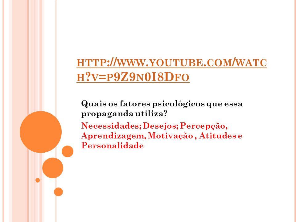 http://www.youtube.com/watch v=p9Z9n0I8Dfo Quais os fatores psicológicos que essa propaganda utiliza