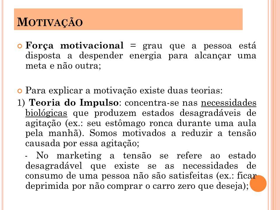 Motivação Força motivacional = grau que a pessoa está disposta a despender energia para alcançar uma meta e não outra;
