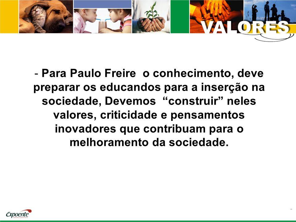 Para Paulo Freire o conhecimento, deve preparar os educandos para a inserção na sociedade, Devemos construir neles valores, criticidade e pensamentos inovadores que contribuam para o melhoramento da sociedade.