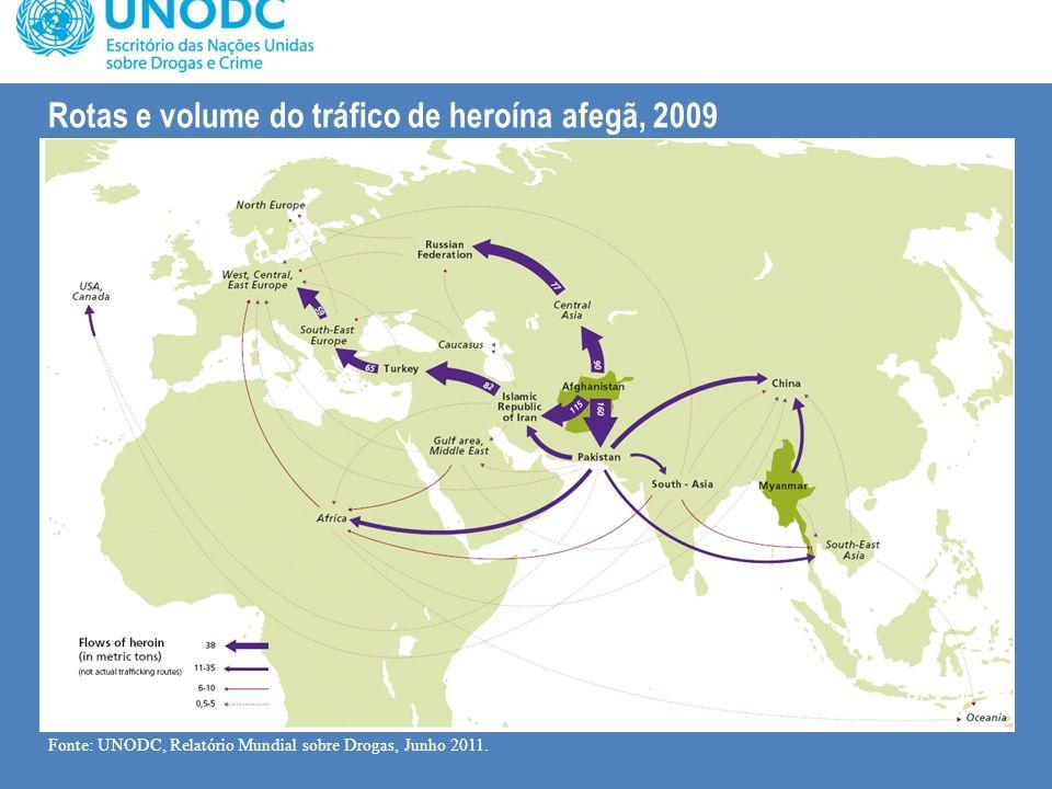 Rotas e volume do tráfico de heroína afegã, 2009