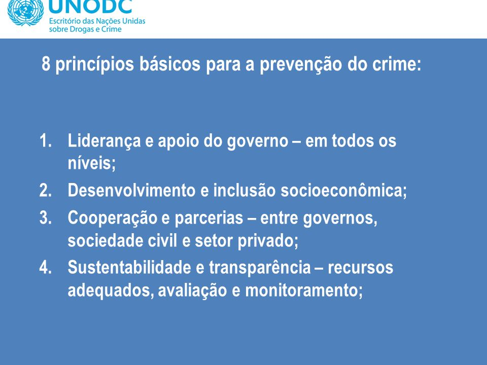 8 princípios básicos para a prevenção do crime: