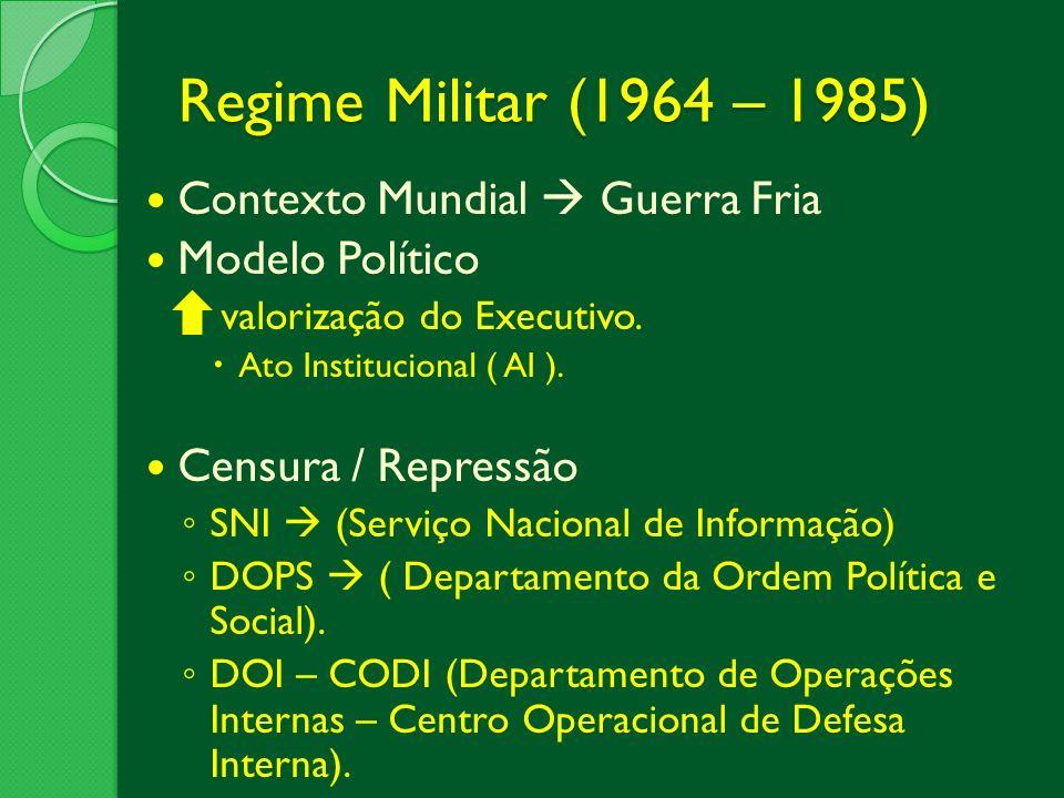 Regime Militar (1964 – 1985) Contexto Mundial  Guerra Fria