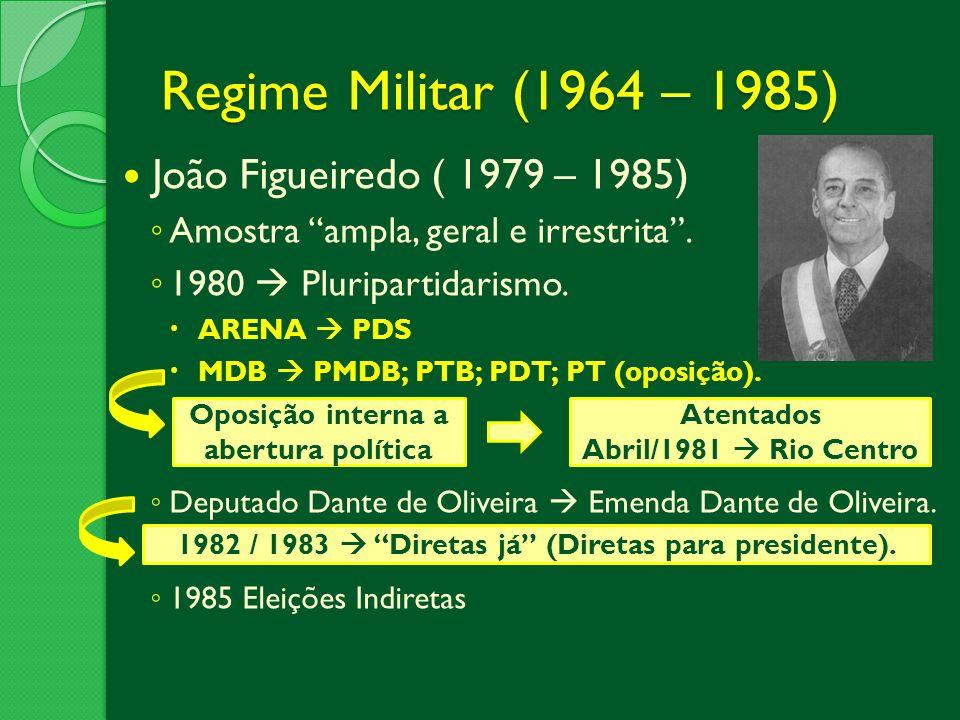 Regime Militar (1964 – 1985) João Figueiredo ( 1979 – 1985)