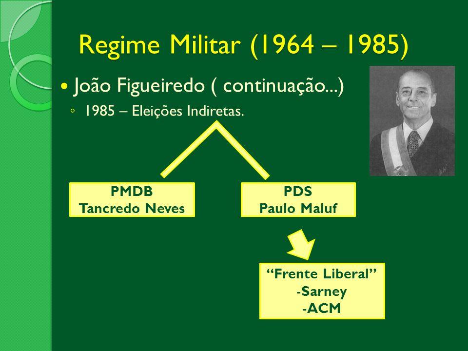 Regime Militar (1964 – 1985) João Figueiredo ( continuação...)