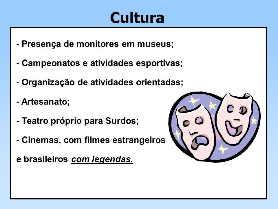 Cultura Presença de monitores em museus;