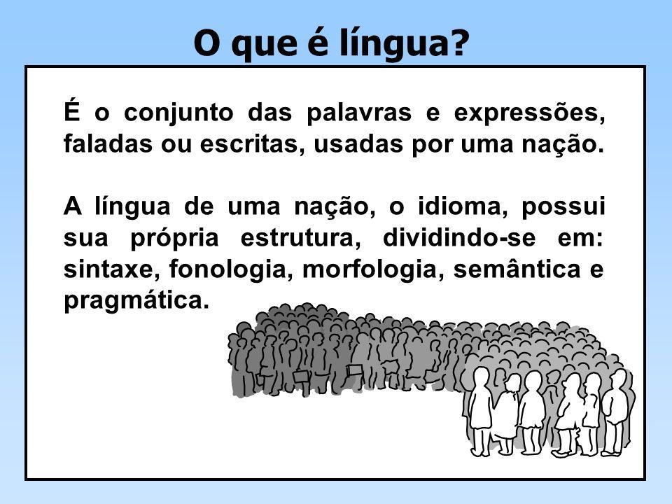 O que é língua É o conjunto das palavras e expressões, faladas ou escritas, usadas por uma nação.