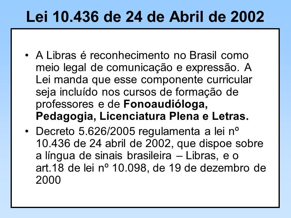 Lei 10.436 de 24 de Abril de 2002