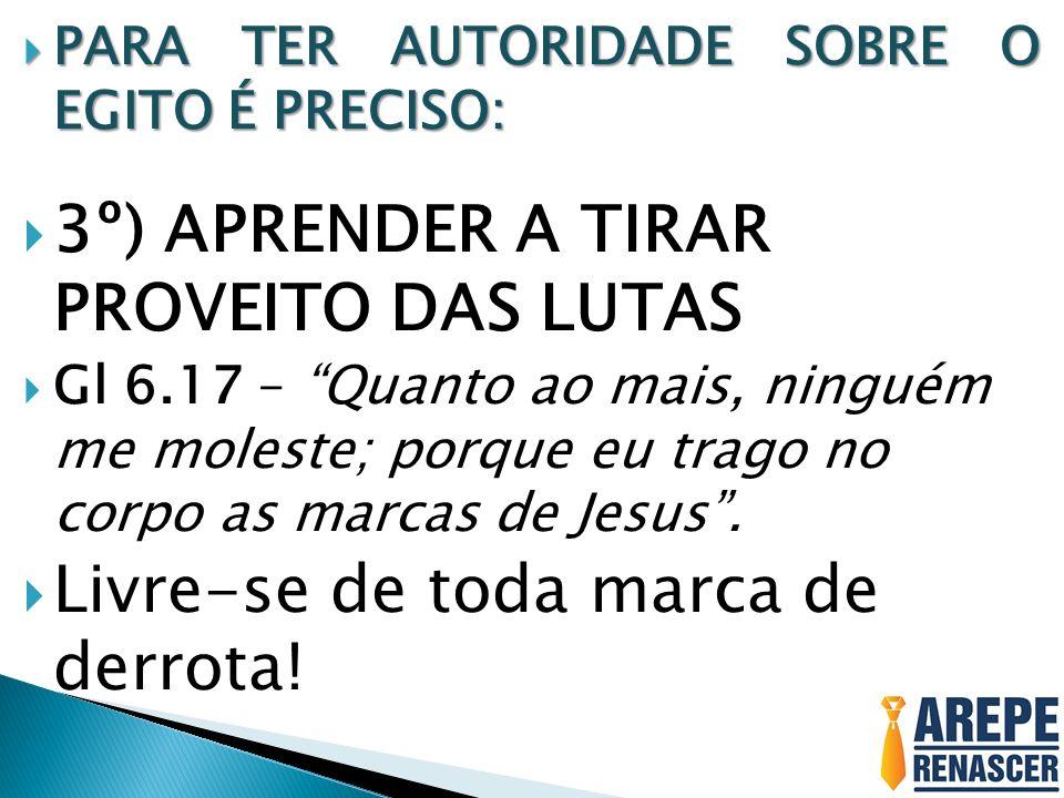 3º) APRENDER A TIRAR PROVEITO DAS LUTAS