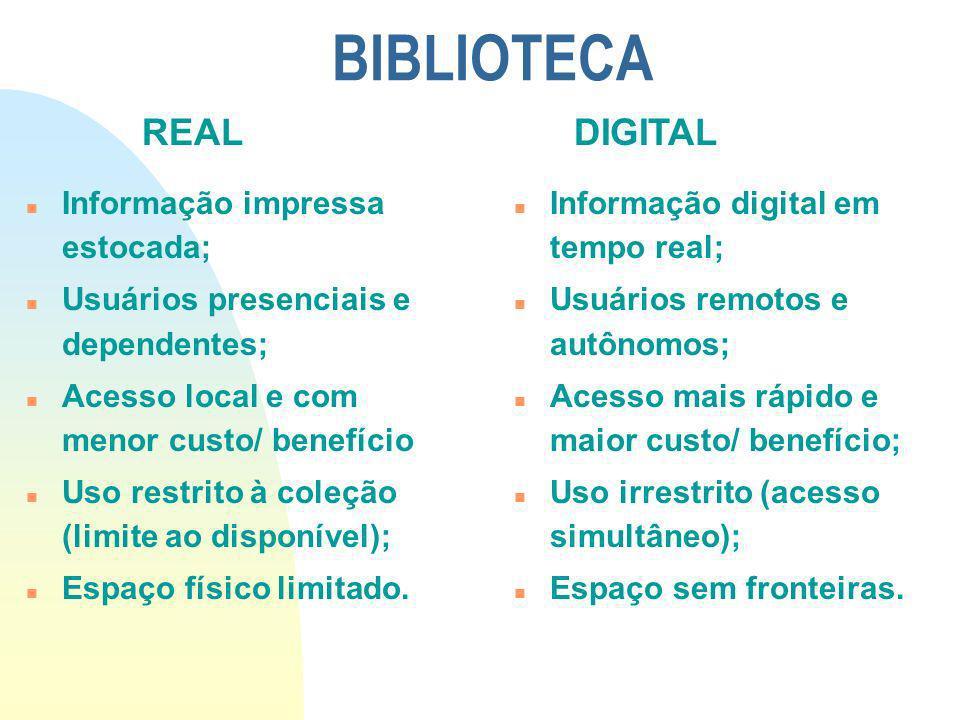 BIBLIOTECA REAL DIGITAL Informação impressa estocada;