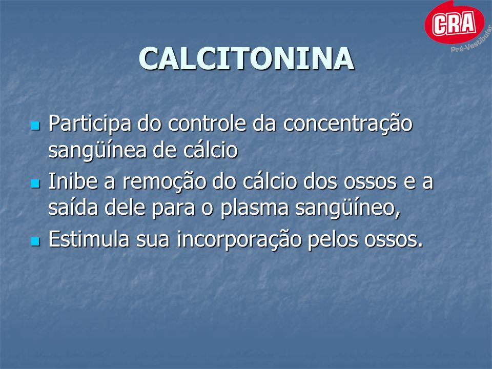 CALCITONINA Participa do controle da concentração sangüínea de cálcio