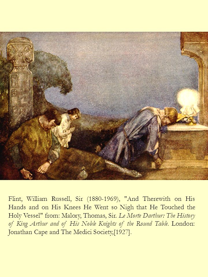 Flint, William Russell, Sir (1880-1969), And Therewith on His Hands and on His Knees He Went so Nigh that He Touched the Holy Vessel from: Malory, Thomas, Sir.