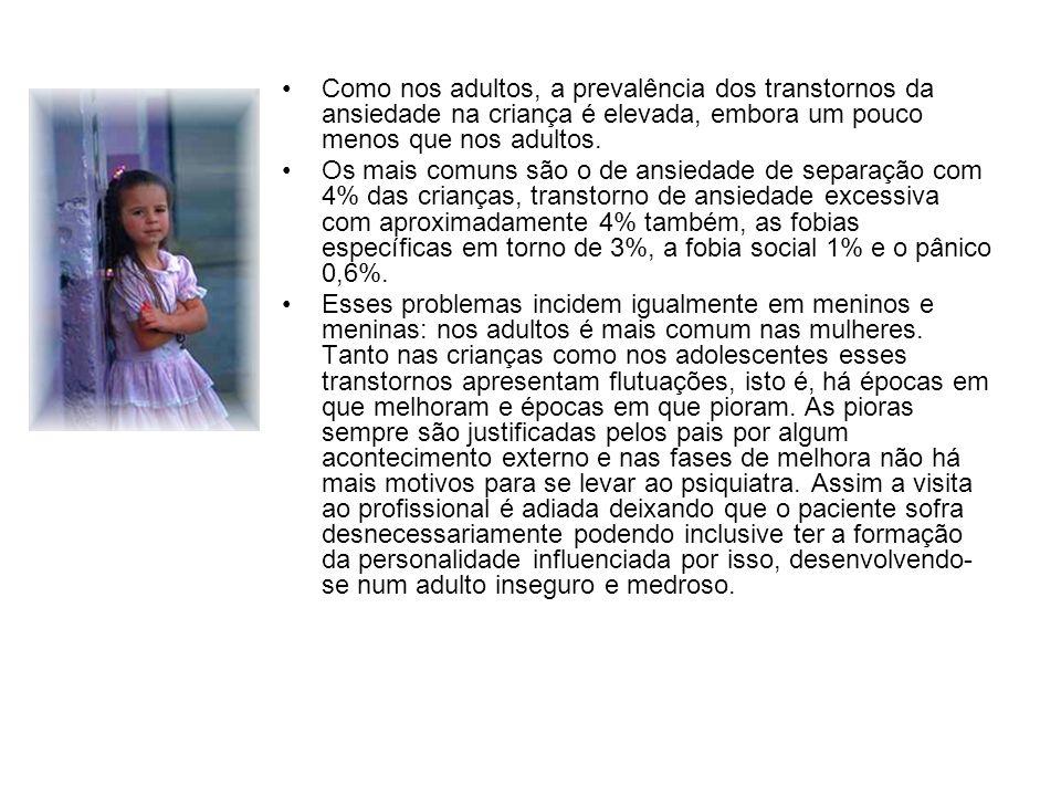 Como nos adultos, a prevalência dos transtornos da ansiedade na criança é elevada, embora um pouco menos que nos adultos.