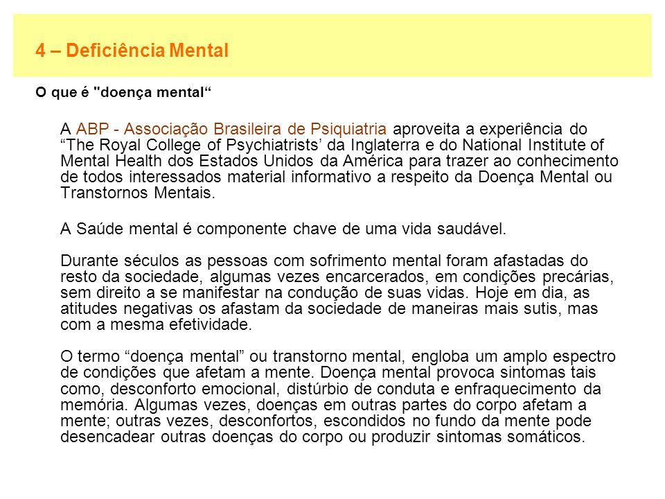 4 – Deficiência Mental O que é doença mental
