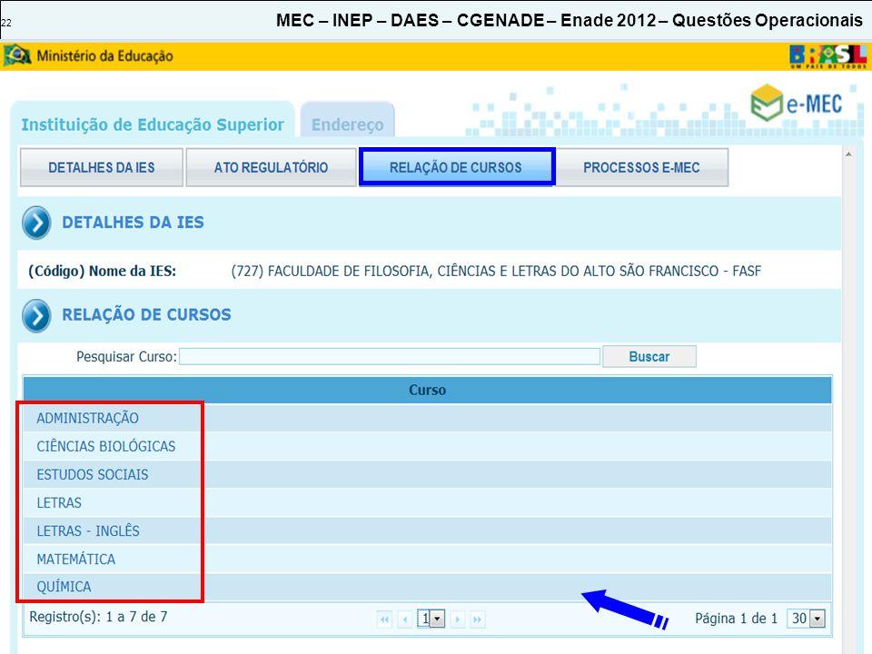 22 MEC – INEP – DAES – CGENADE – Enade 2012 – Questões Operacionais