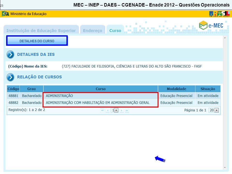 23 MEC – INEP – DAES – CGENADE – Enade 2012 – Questões Operacionais