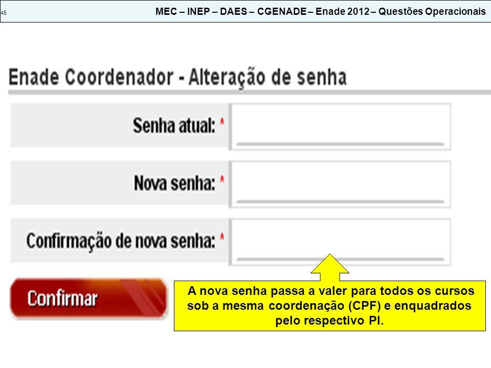 45 MEC – INEP – DAES – CGENADE – Enade 2012 – Questões Operacionais