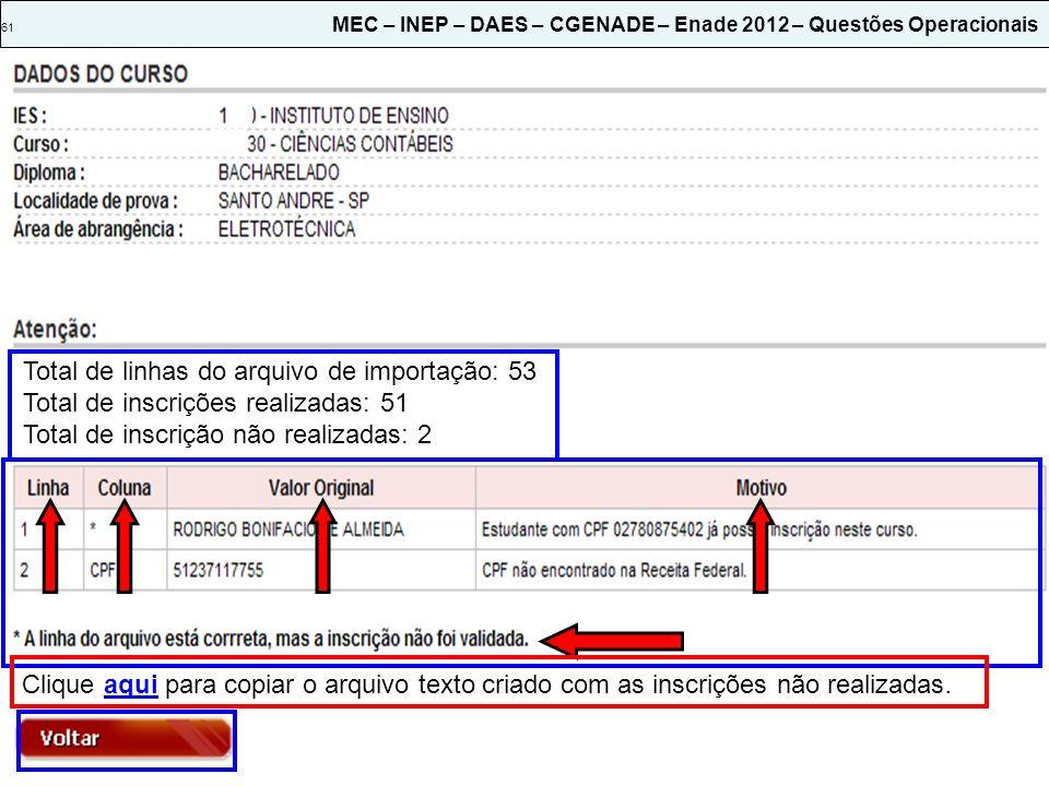 Total de linhas do arquivo de importação: 53