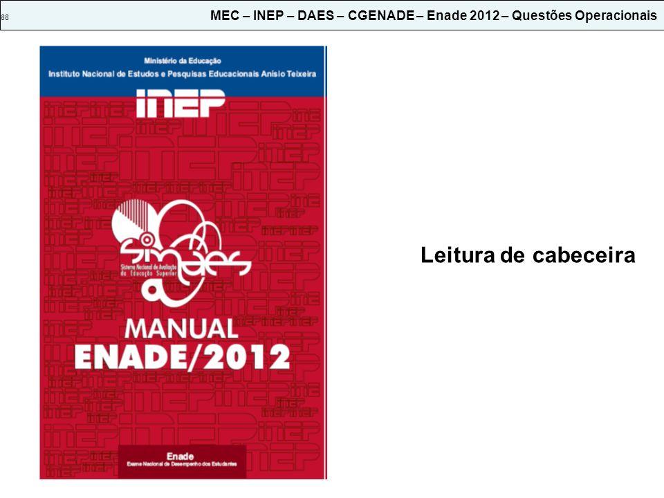 88 MEC – INEP – DAES – CGENADE – Enade 2012 – Questões Operacionais
