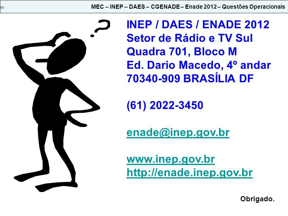 INEP / DAES / ENADE 2012 Setor de Rádio e TV Sul Quadra 701, Bloco M