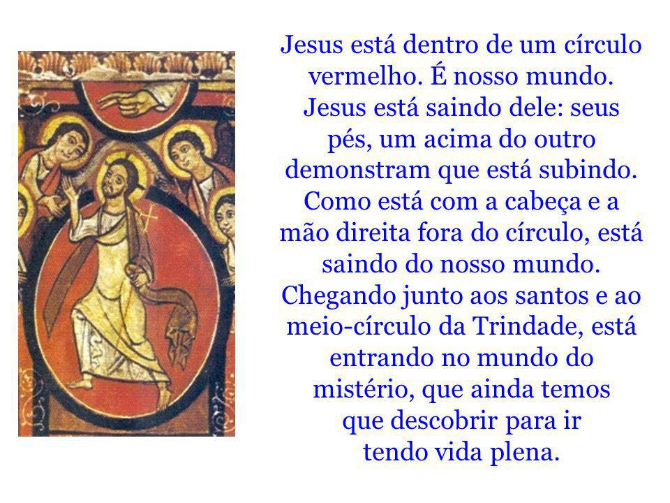 Jesus está dentro de um círculo vermelho. É nosso mundo