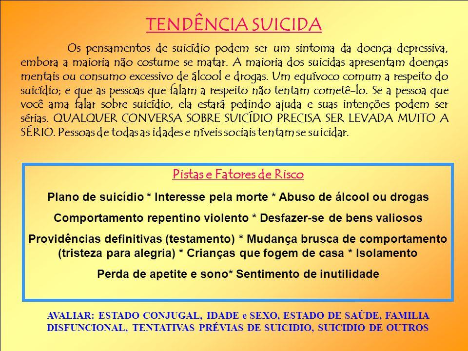 TENDÊNCIA SUICIDA Pistas e Fatores de Risco