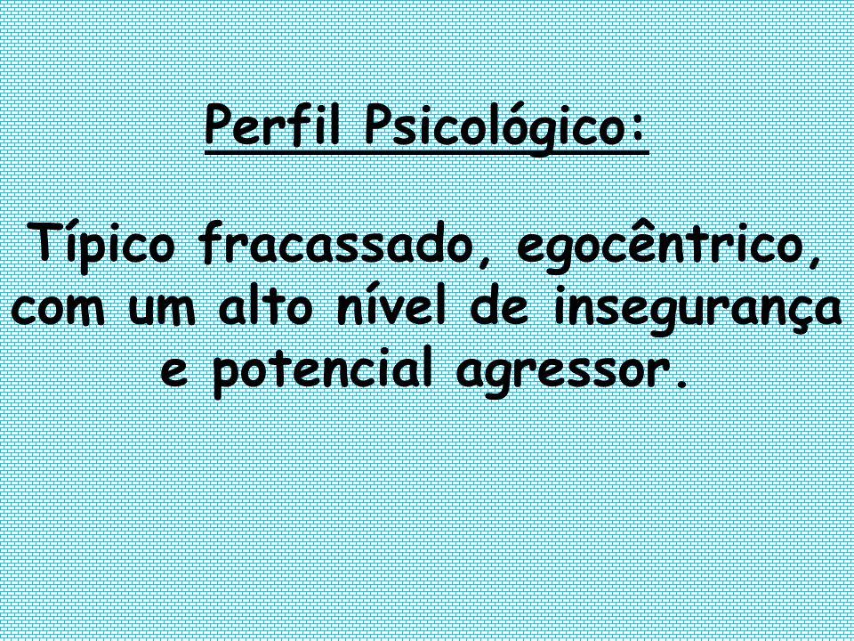 Perfil Psicológico:Típico fracassado, egocêntrico, com um alto nível de insegurança e potencial agressor.