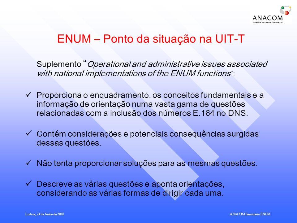 ENUM – Ponto da situação na UIT-T