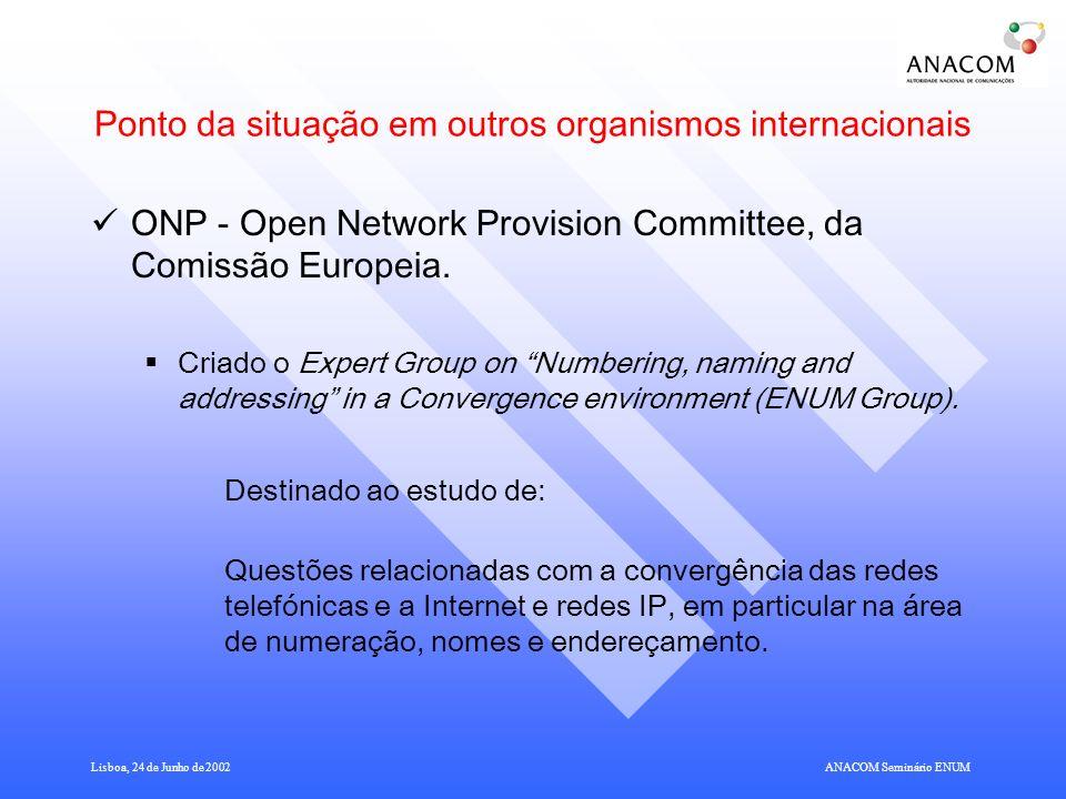 Ponto da situação em outros organismos internacionais