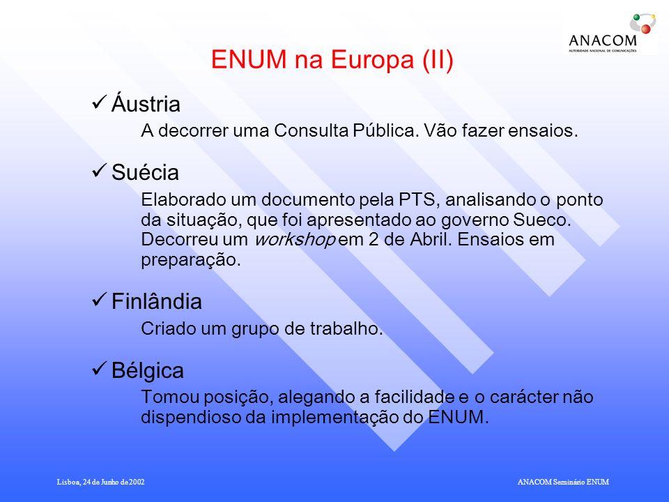 ENUM na Europa (II) Áustria Suécia Finlândia Bélgica