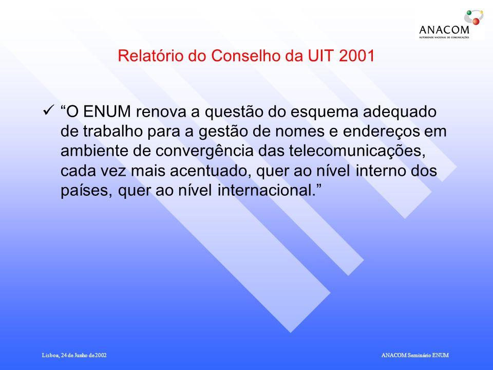 Relatório do Conselho da UIT 2001
