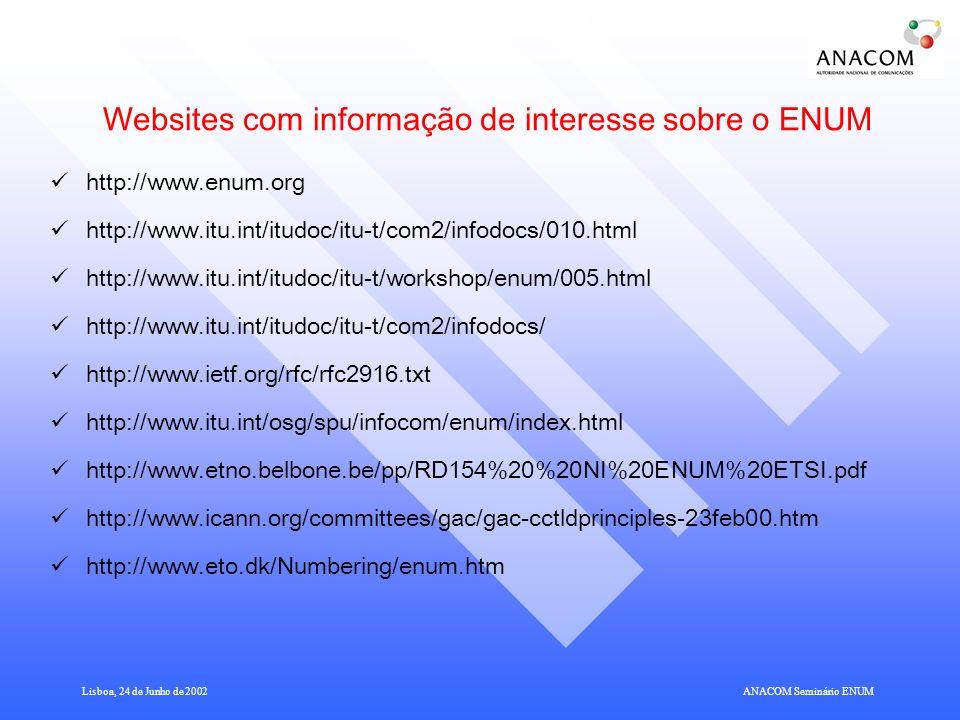 Websites com informação de interesse sobre o ENUM