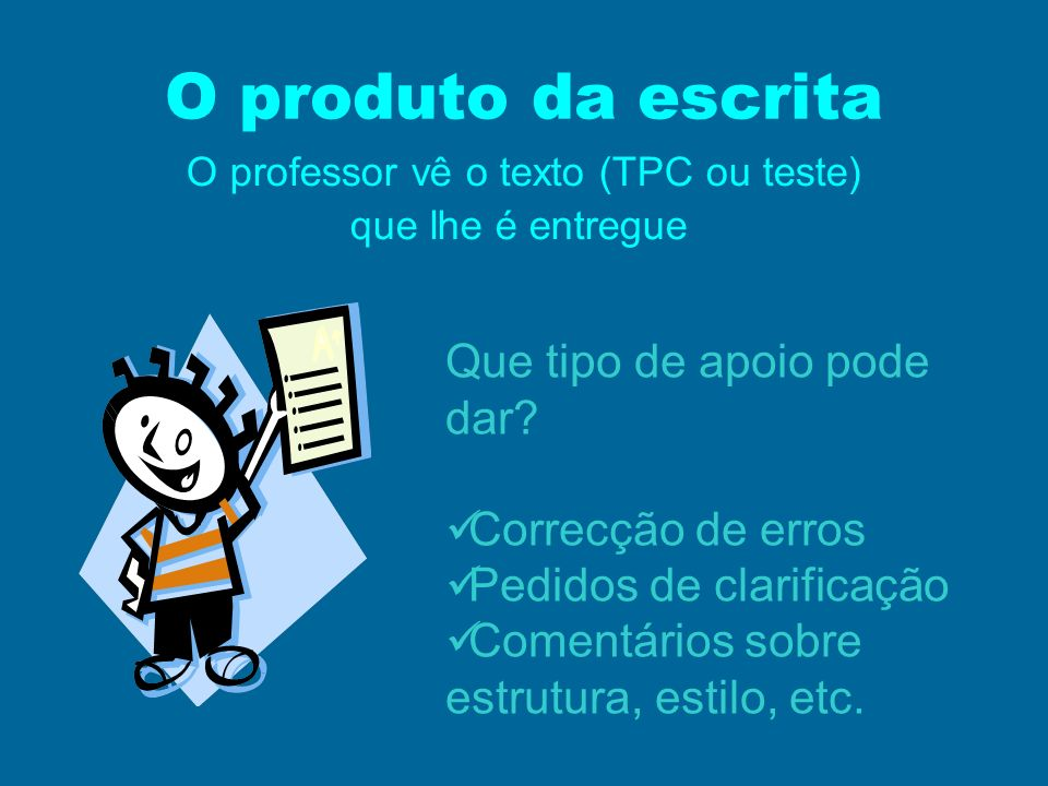 O professor vê o texto (TPC ou teste)