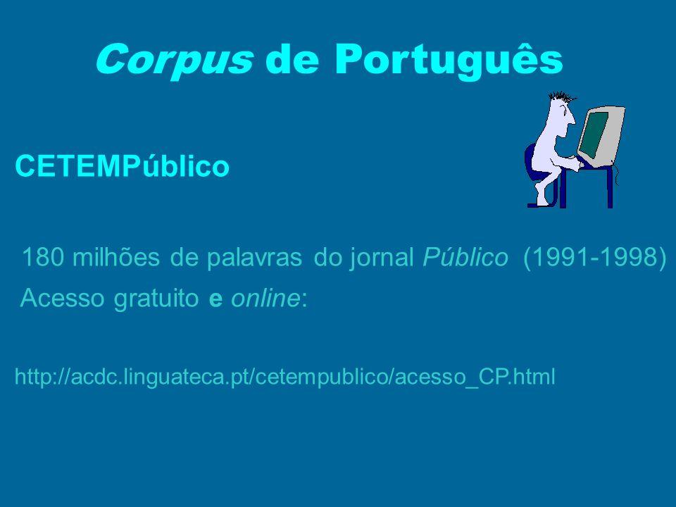 Corpus de Português CETEMPúblico Acesso gratuito e online: