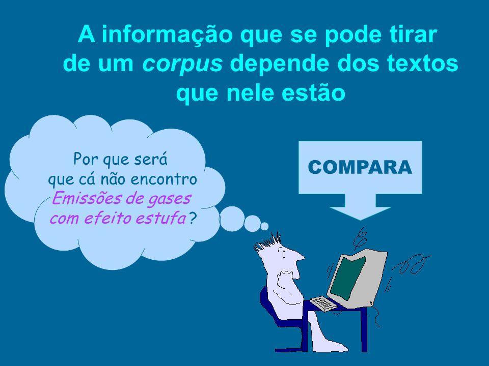 A informação que se pode tirar de um corpus depende dos textos