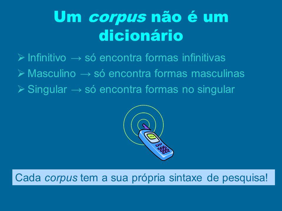 Um corpus não é um dicionário