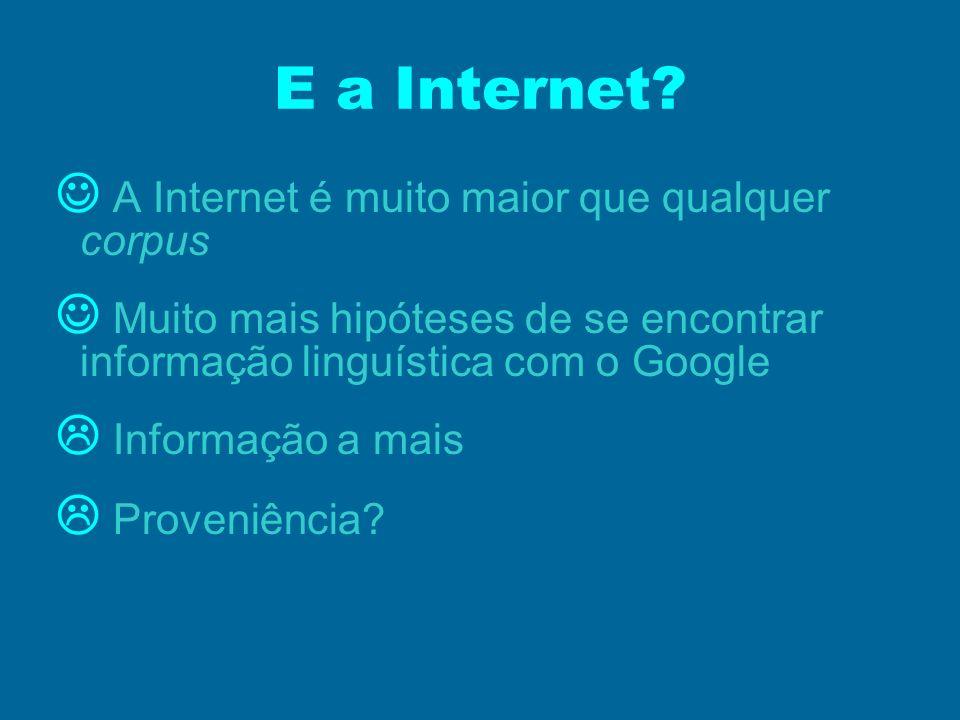 E a Internet  A Internet é muito maior que qualquer corpus