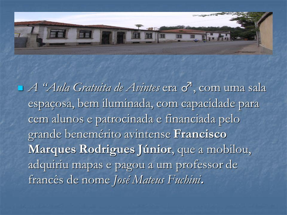 A Aula Gratuita de Avintes era ♂, com uma sala espaçosa, bem iluminada, com capacidade para cem alunos e patrocinada e financiada pelo grande benemérito avintense Francisco Marques Rodrigues Júnior, que a mobilou, adquiriu mapas e pagou a um professor de francês de nome José Mateus Fuchini.