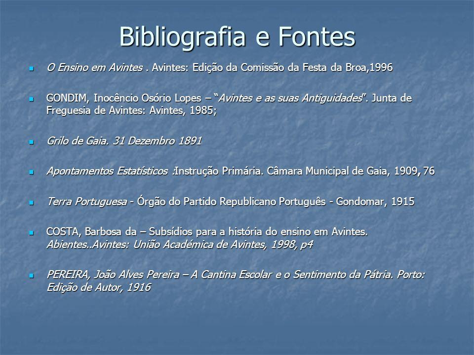Bibliografia e Fontes O Ensino em Avintes . Avintes: Edição da Comissão da Festa da Broa,1996.