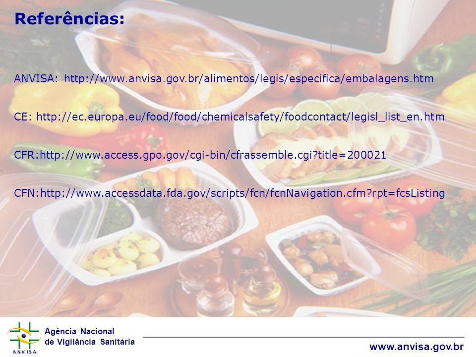 Referências: ANVISA: http://www.anvisa.gov.br/alimentos/legis/especifica/embalagens.htm.