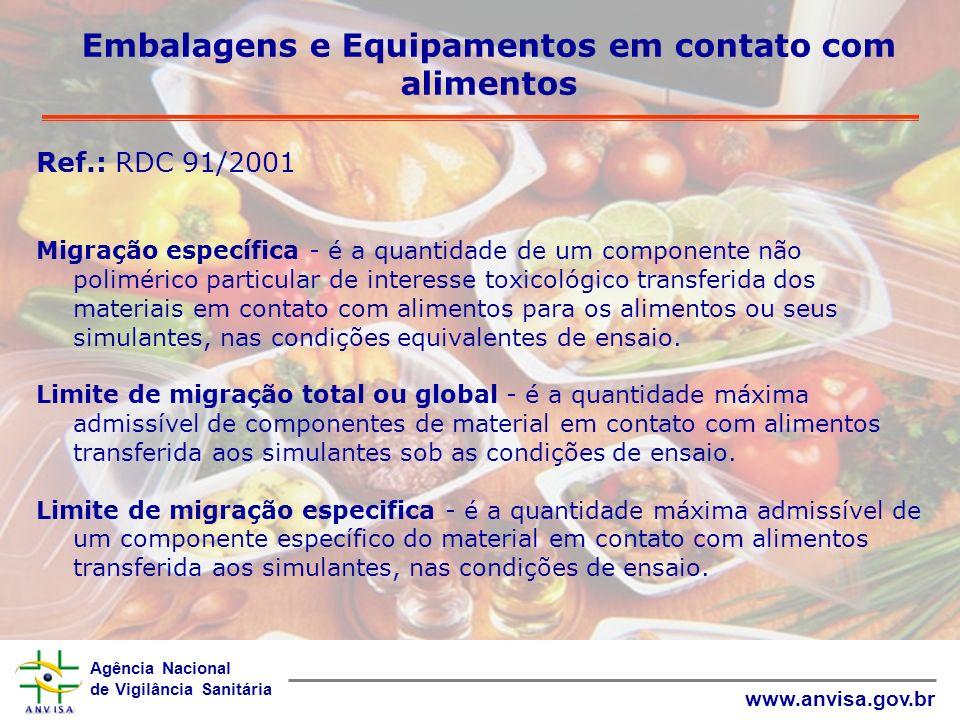 Embalagens e Equipamentos em contato com alimentos