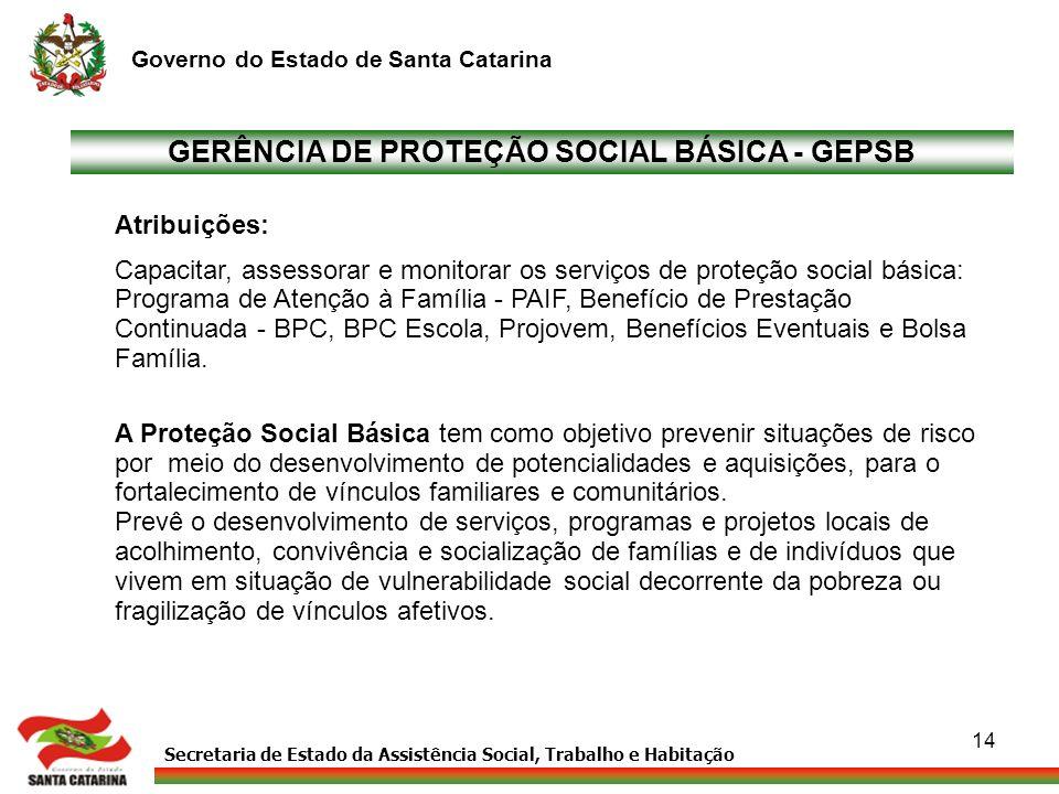 GERÊNCIA DE PROTEÇÃO SOCIAL BÁSICA - GEPSB