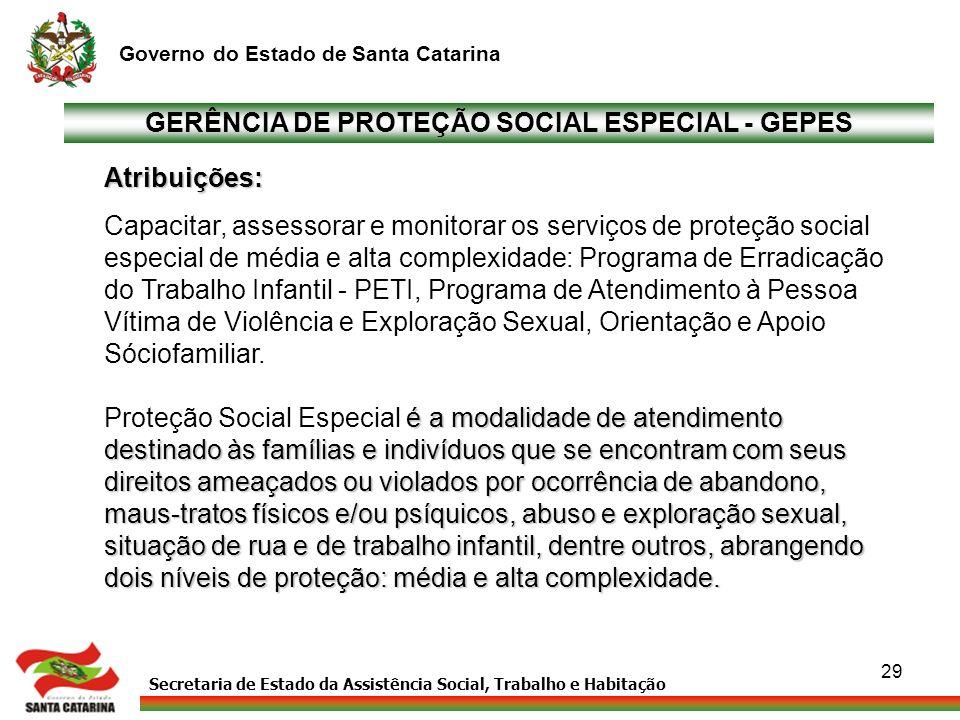 GERÊNCIA DE PROTEÇÃO SOCIAL ESPECIAL - GEPES