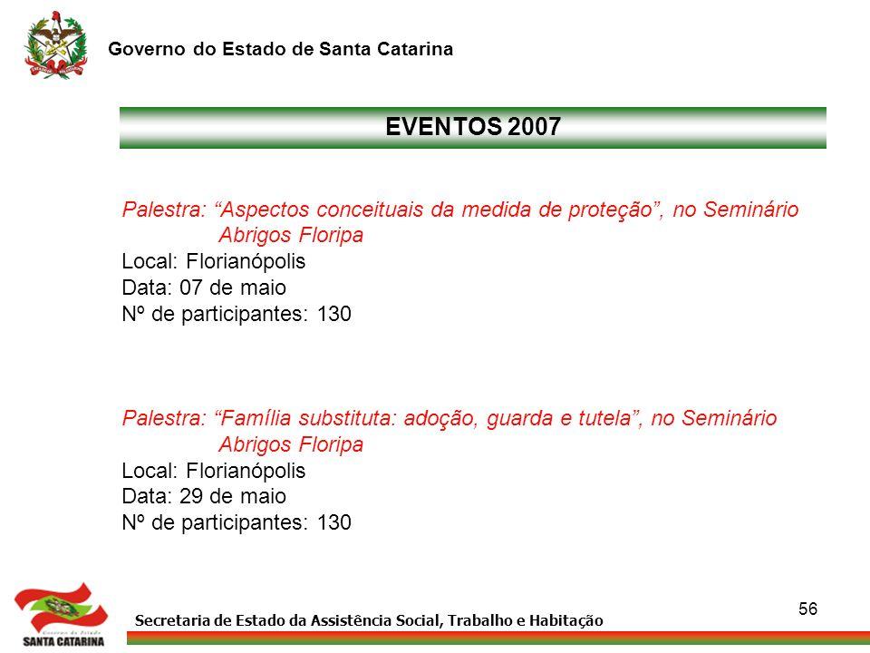 EVENTOS 2007 Palestra: Aspectos conceituais da medida de proteção , no Seminário. Abrigos Floripa.
