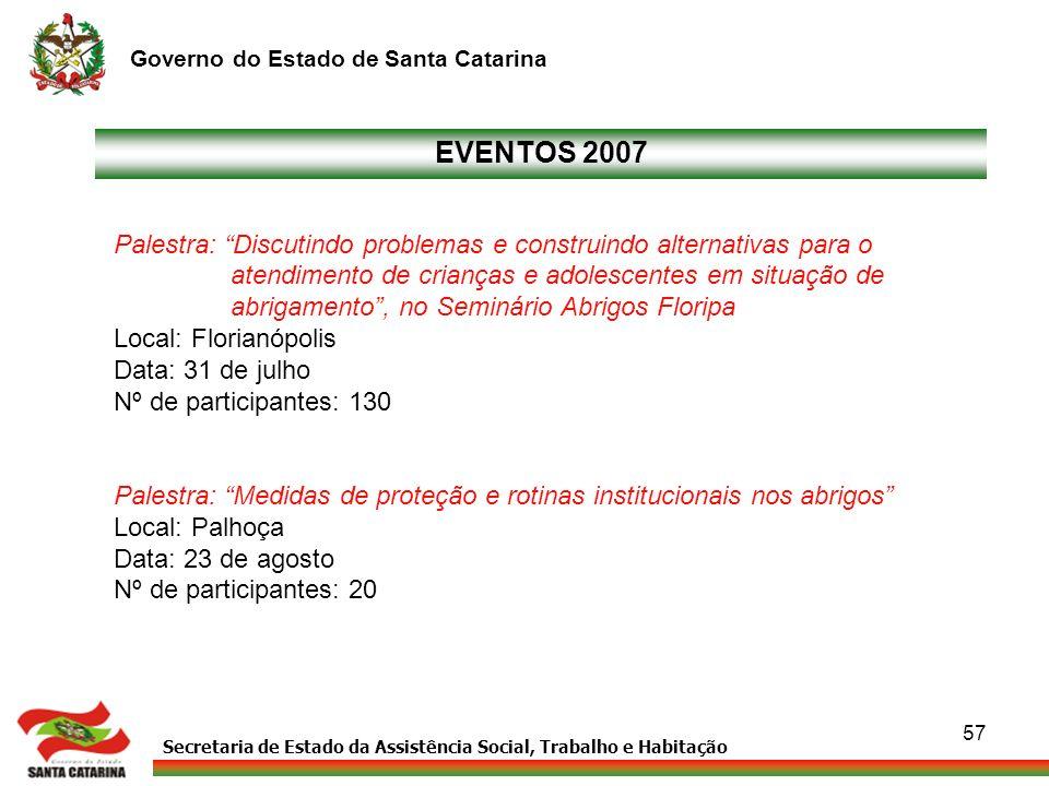 EVENTOS 2007 Palestra: Discutindo problemas e construindo alternativas para o. atendimento de crianças e adolescentes em situação de.