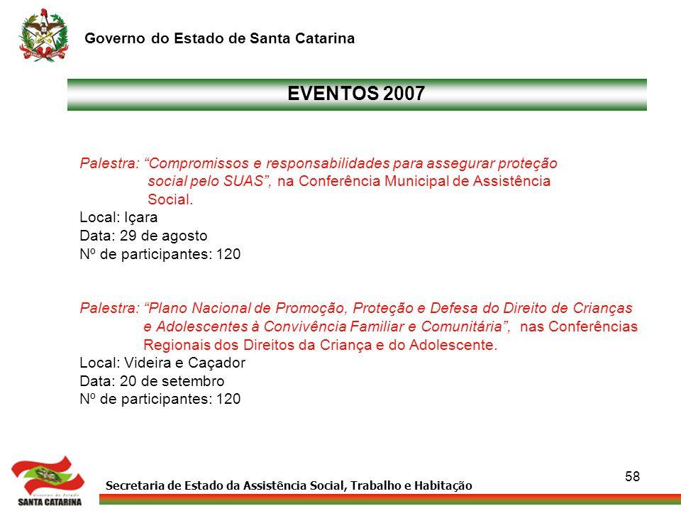 EVENTOS 2007 Palestra: Compromissos e responsabilidades para assegurar proteção. social pelo SUAS , na Conferência Municipal de Assistência.
