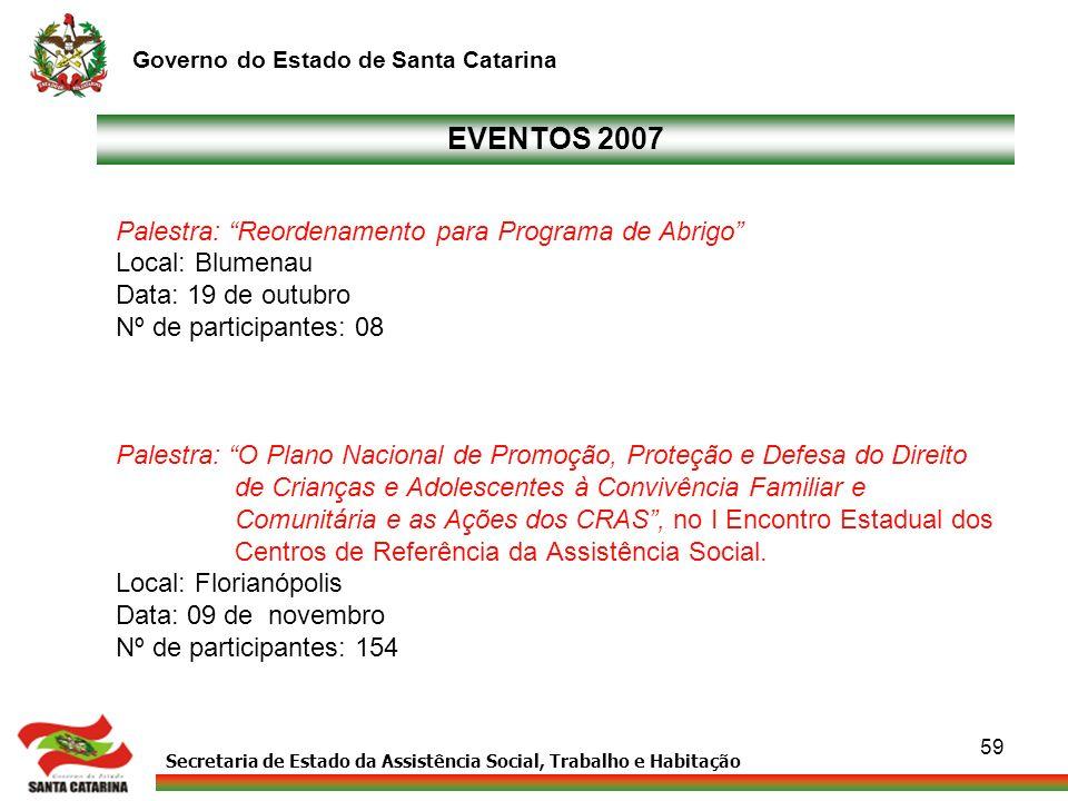 EVENTOS 2007 Palestra: Reordenamento para Programa de Abrigo